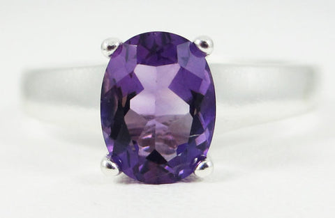 Amethyst Oval Ring Sterling Silver Ring