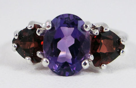 Amethyst and Garnet Ring Sterling Silver