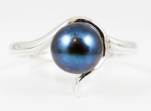 Black Pearl Ring, 925 Sterling Silver, June Birthstone Ring, Natural Freshwater Black Pearl Ring, 925 Pearl Ring
