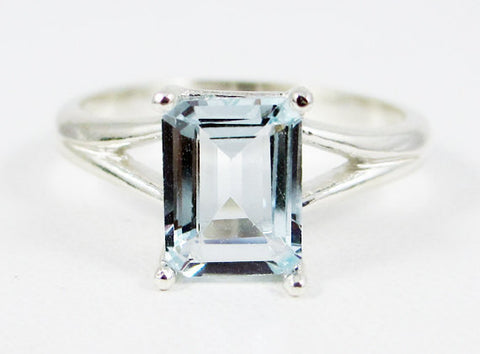 Aquamarine Emerald Cut Ring, 925 Sterling Silver, March Birthstone Ring, Blue Aquamarine Ring, Natural Emerald Cut Aquamarine Ring