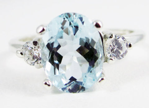 Aquamarine and CZ Ring, 925 Sterling Silver, March Birthstone Ring, Three Stone Ring, CZ Accent Ring, Natural Aquamarine Gemstone Ring