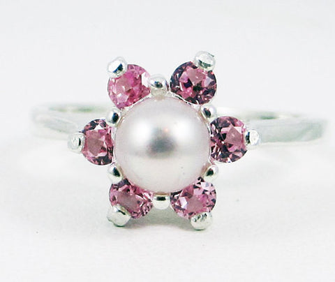 Pink Pearl and Pink Sapphire Halo Ring, 925 Sterling Silver, June Birthstone Ring, Pink Pearl Halo Ring, Natural Pink Pearl Ring