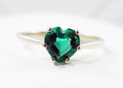 Emerald Heart Ring Sterling Silver, May Birthstone Ring, Sterling Silver Heart Ring, Emerald Heart Ring, 925 Sterling Silver Ring