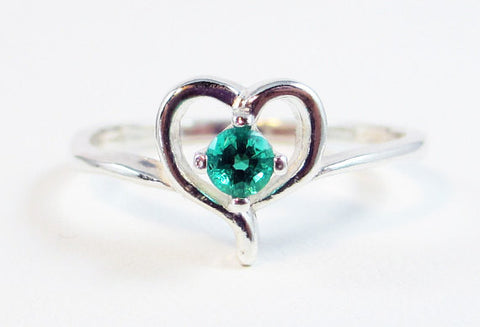 Emerald Heart Birthstone Ring Sterling Silver, May Birthstone Ring, Sterling Silver Heart Ring, Emerald Heart Ring