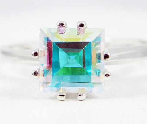 Mercury Mist Topaz Princess Cut Ring Sterling Silver, White Rainbow Topaz Ring, Square Mercury Mist Topaz, Princess Cut Ring