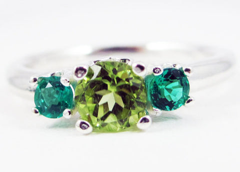 Emerald and Peridot Three Stone Ring Sterling Silver, May Birthstone Ring, August Birthstone Ring, Emerald Peridot Ring