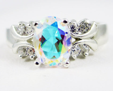 rainbow engagement unusual wedding rings mystic set topaz