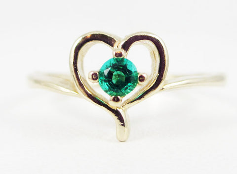 Emerald Petite Heart Ring 14k Yellow Gold, May Birthstone Ring, Yellow Gold Emerald Ring, Small Emerald Heart Ring, 14k Gold Emerald Ring