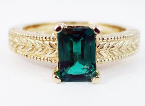 Emerald Detailed 14k Yellow Gold Emerald Cut Ring, May Birthstone Ring, 14k Yellow Gold Ring, Solid Yellow Gold Ring, Emerald Cut Ring