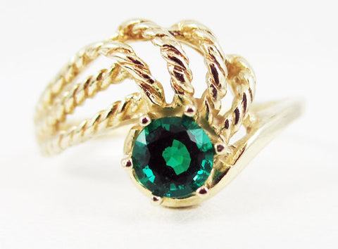 14k Yellow Gold Emerald Twist Ring, May Birthstone Ring, Twisted 14k Yellow Gold Ring, 14k Emerald Ring, Yellow Gold Emerald Ring