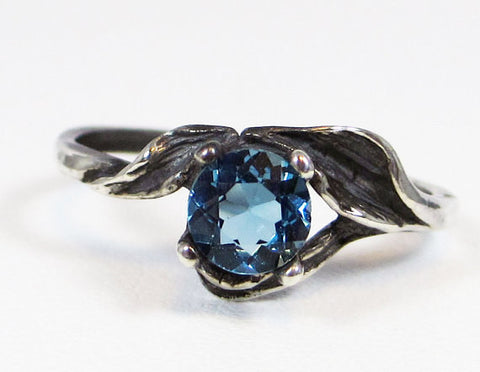 Oxidized London Blue Topaz Leaf Ring Sterling Silver, December Birthstone Ring, Oxidized Sterling Silver Leaf Ring, 925 Oxidized Ring
