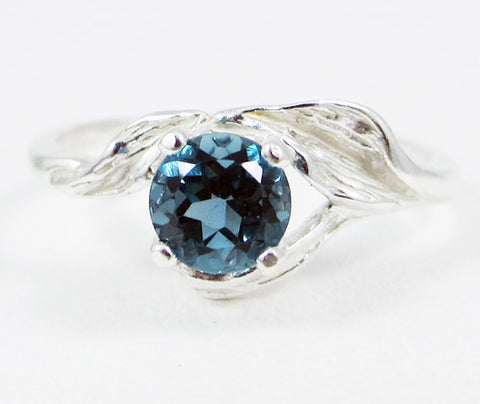London Blue Topaz Leaf Ring Sterling Silver, December Birthstone Ring, Blue Topaz Leaf Ring, Sterling Silver Leaf Ring, 925 Ring