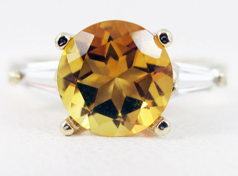 Golden Citrine Baguette Accented 14k Yellow Gold Ring, November Birthstone Ring, 14k Yellow Gold Ring, Solid Yellow Gold Ring, 14k Gold