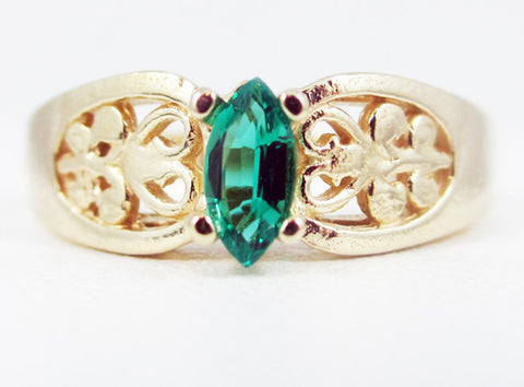 Emerald 14k Yellow Gold Marquis Filigree Ring, 14k Yellow Gold Ring, Solid Yellow Gold Ring, May Birthstone Ring, Emerald Marquis Ring