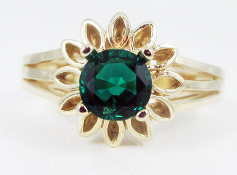 Emerald 14k Yellow Gold Sunflower Ring, May Birthstone Ring, 14k Gold Emerald Ring, Gold Sunflower Ring, 14 Karat Gold Ring, Emerald Ring