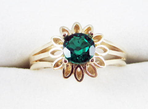 Emerald 14k Yellow Gold Sunflower Ring May Birthstone Ring 14k