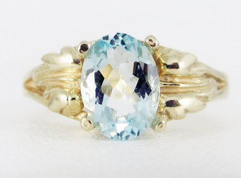 Aquamarine 14k Yellow Gold Oval Leaf Ring, March Birthstone Ring, Aquamarine Oval Ring, 14k Yellow Gold Aquamarine Ring, 14k Gold Leaf Ring