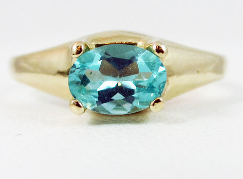 Apatite Oval 14k Yellow Gold Dome Ring, Apatite Ring, 14 Karat Yellow Gold Ring, 14k Apatite Ring, Apatite Oval Ring, 14k Gold Ring