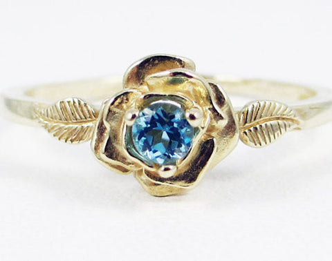 14k Yellow Gold Swiss Blue Topaz Rose Ring