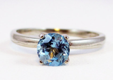 14k White Gold Sky Blue Topaz Solitaire Ring, December Birthstone Ring, White Gold Solitaire Ring, 14k Blue Topaz Ring, Sky Blue Topaz Ring