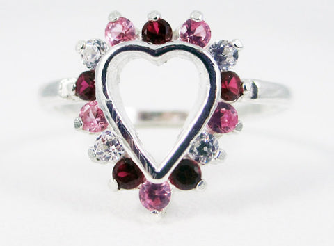 Ruby, Pink Sapphire, and CZ Heart Ring Sterling Silver, September Birthstone Ring, Ruby Heart Ring, Pink Sapphire Heart Ring, 925 Heart Ring