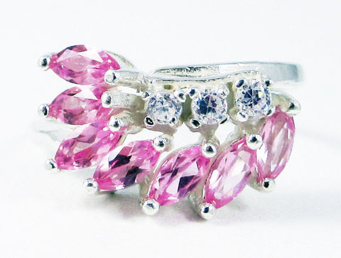 Pink Sapphire Marquis and CZ Ring Sterling Silver, September Birthstone Ring, Marquis Ring, Pink Sapphire Marquis, 925 Sterling Ring