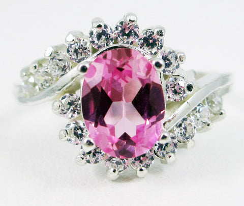 Pink Sapphire and CZ Swirl Ring Sterling Silver, September Birthstone Ring, Pink Sapphire Engagement Ring, Pink Sapphire Halo Ring, 925 Ring
