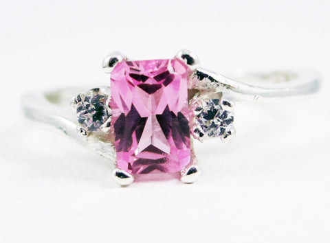 Pink Sapphire and CZ Accent Ring Sterling Silver, September Birthstone Ring, Emerald Cut Pink Sapphire Ring, Sapphire Rectangle Ring