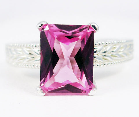 Emerald Cut Pink Sapphire Engagement Ring Sterling Silver, September Birthstone Ring, Pink Sapphire Ring, 925 Sterling Silver Ring