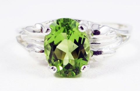 Peridot Oval Leaf Ring Sterling Silver, August Birthstone Ring, Peridot Gemstone Ring, Sterling Silver Peridot Oval Ring, 925 Sterling Ring