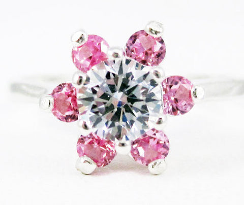 White CZ and Pink Sapphire Halo Ring Sterling Silver, September Birthstone Ring, Pink Sapphire Flower Halo Ring, 925 Sterling Silver Ring