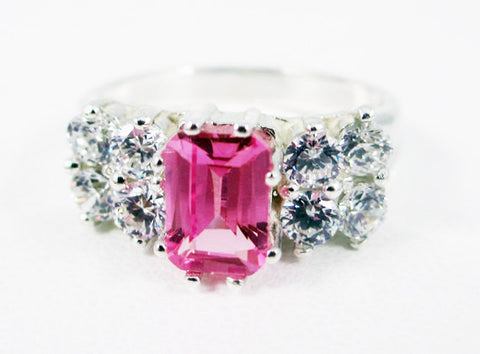 Pink Sapphire and CZ Accented Sterling Silver Ring Emerald Cut, September Birthstone Ring, Emerald Cut Pink Sapphire Ring, Multi Stone Ring