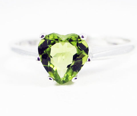 Peridot Heart Ring Sterling Silver, August Birthstone Ring, Peridot Gemstone Ring, Sterling Silver Ring