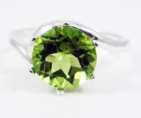 Peridot Bypass Solitaire Ring Sterling Silver, August Birthstone Ring, Large Peridot Solitaire Ring, Peridot Bypass Ring