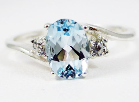Aquamarine Oval and White CZ Accent Ring, 925 Sterling Silver, March Birthstone Ring, CZ Accent Ring, Three Stone Ring, Blue Aquamarine Ring