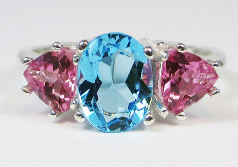 Blue Topaz and Pink Sapphire Ring Sterling Silver 925, December Birthstone Ring, Three Stone Ring, Swiss Blue Topaz Ring, Pink Sapphire
