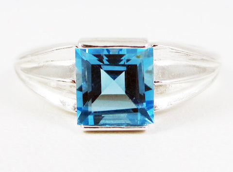 Swiss Blue Topaz Square Princess Cut Ring, 925 Sterling Silver, December Birthstone Ring, Princess Cut Swiss Blue Topaz Ring, Square Topaz