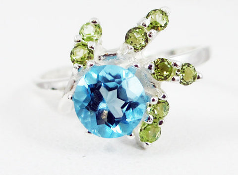 Swiss Blue Topaz and Peridot Spiral Accent Ring Sterling Silver 925, December Birthstone Ring, Peridot Spiral Ring, 925 Ring