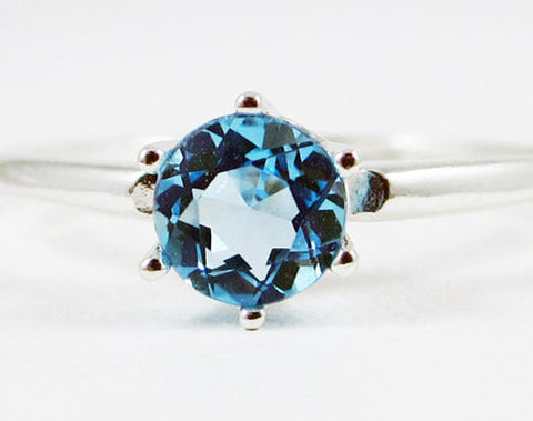 Solitaire Ring Swiss Blue Topaz Sterling Silver, December Birthstone Ring, Swiss Blue Topaz Solitaire Ring, 925 Solitaire Ring