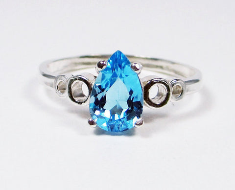 Blue Topaz Pear Bubble Ring Sterling Silver, December Birthstone Ring, Blue Topaz Pear Ring, 925 Blue Topaz Ring