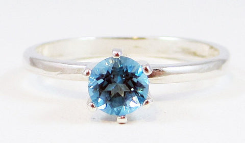 Swiss Blue Topaz Solitaire Ring Sterling Silver, December Birthstone Ring, Topaz Solitaire Ring, 925 Solitaire Ring