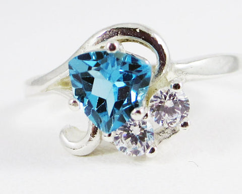 Swiss Blue Topaz Trillion and CZ Accent Ring Sterling Silver 925, December Birthstone Ring, Three Stone Ring, Topaz Trillion Ring