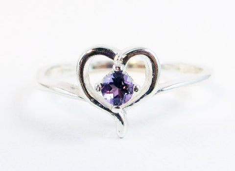 Tiny Amethyst Heart Ring, 925 Sterling Silver, February Birthstone Ring, Small Amethyst Heart Ring, Petite Amethyst Heart Ring