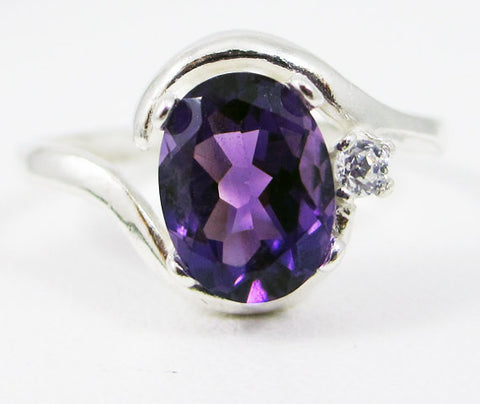 Sterling Silver Amethyst Oval and White CZ Accent Ring, 925 Sterling Silver Ring, Amethyst Oval Ring, February Birthstone Ring