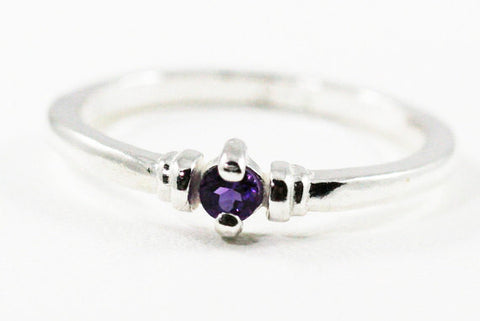 Tiny Amethyst Stacking Ring Sterling Silver
