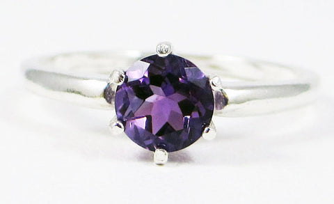 Amethyst Solitaire Ring Sterling Silver