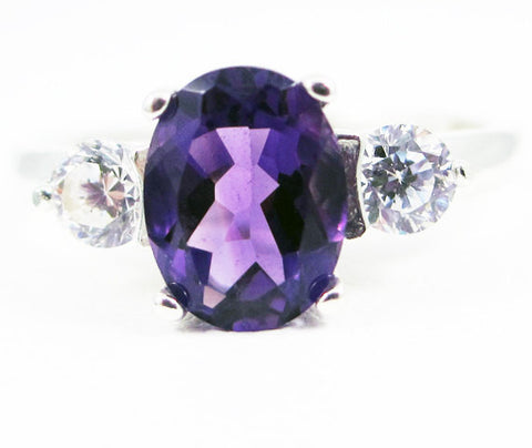 Amethyst Oval and CZ Accent Ring Sterling Silver Ring