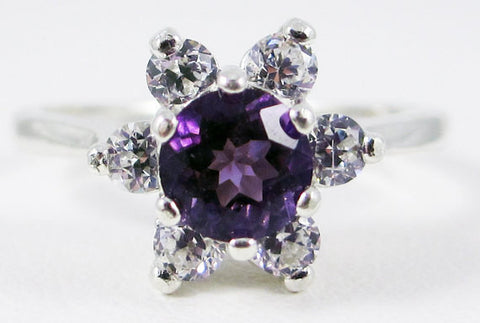 Amethyst Round Halo Ring Sterling Silver Ring