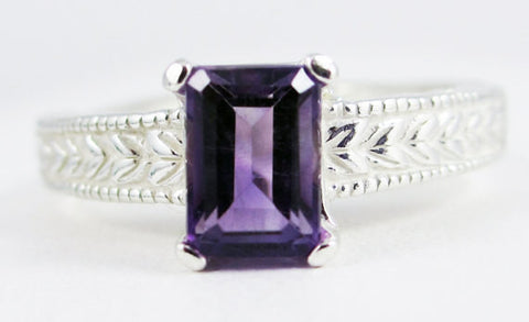 Sterling Silver Amethyst Ring, 925 Sterling Silver, February Birthstone Ring, Radiant Cut Ring, Emerald Cut Ring, Sterling Amethyst Ring