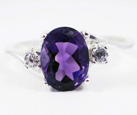 Amethyst Oval and White CZ Accent Ring Sterling Silver Ring